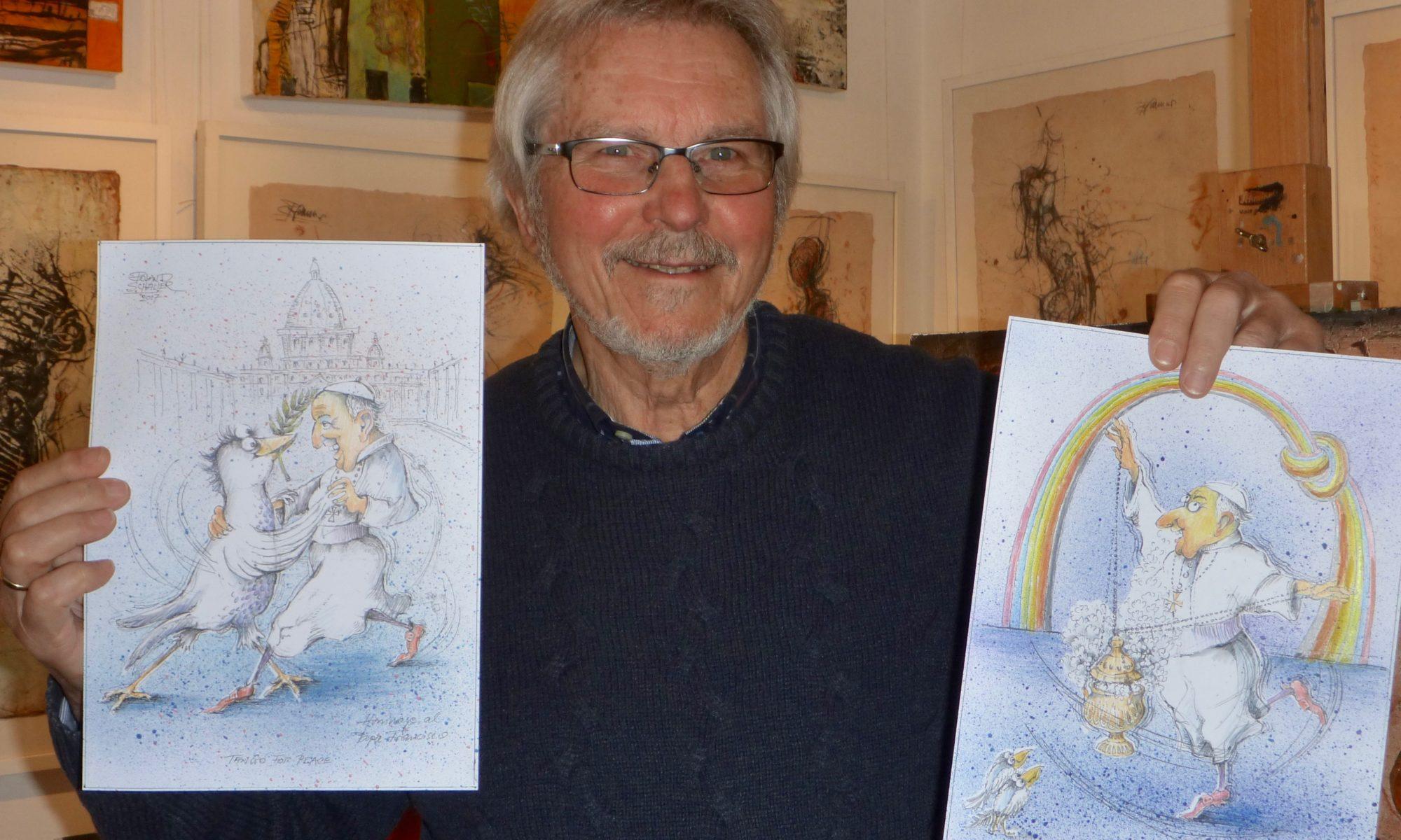 Künstler Roland Schaller aus Lohr hat zwei Karikaturen über Papst Franziskus für eine Ausstellung in dessen Heimat Argentinien erstellt. | Foto: B. Schneider