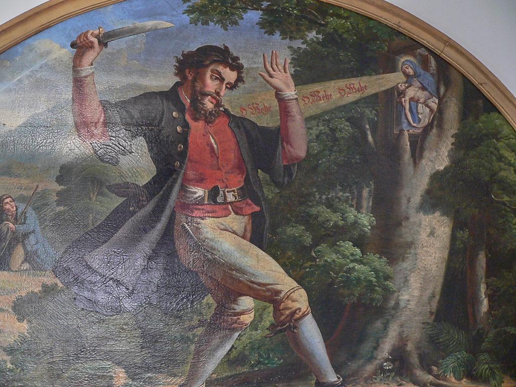 Gemälde von der Auffindung des Gnadenbildes von Mariabuchen im dortigen Kloster | Repro: B. Schneider