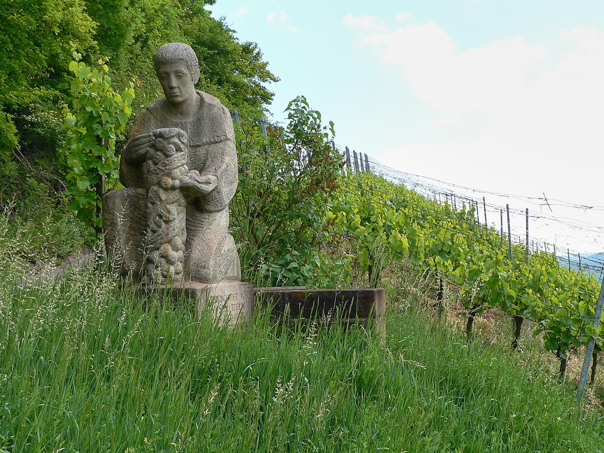 Der wohl größte Sohn der Stadt Zeil ist Johann Kaspar – später – Alberich Degen. Nach dem Theologiestudium in Würzburg stieg er bald zum 42. Abt des reichsunmittelbaren Klosters Ebrach und Generalvikar der oberdeutschen Kongregation der Zisterziensermönche auf. Ihm unterstanden auch 22 Tochterklöster in Franken, Böhmen, Mähren, Altbayern und Österreich; aus einem in der Steiermark soll er Silvaner-Setzlinge geholt und für den Aufschwung des Weinbaus in Franken gesorgt haben. Sein Denkmal steht inmitten der Rebhänge am Wanderweg über dem Maintal. | Foto B. Schneider
