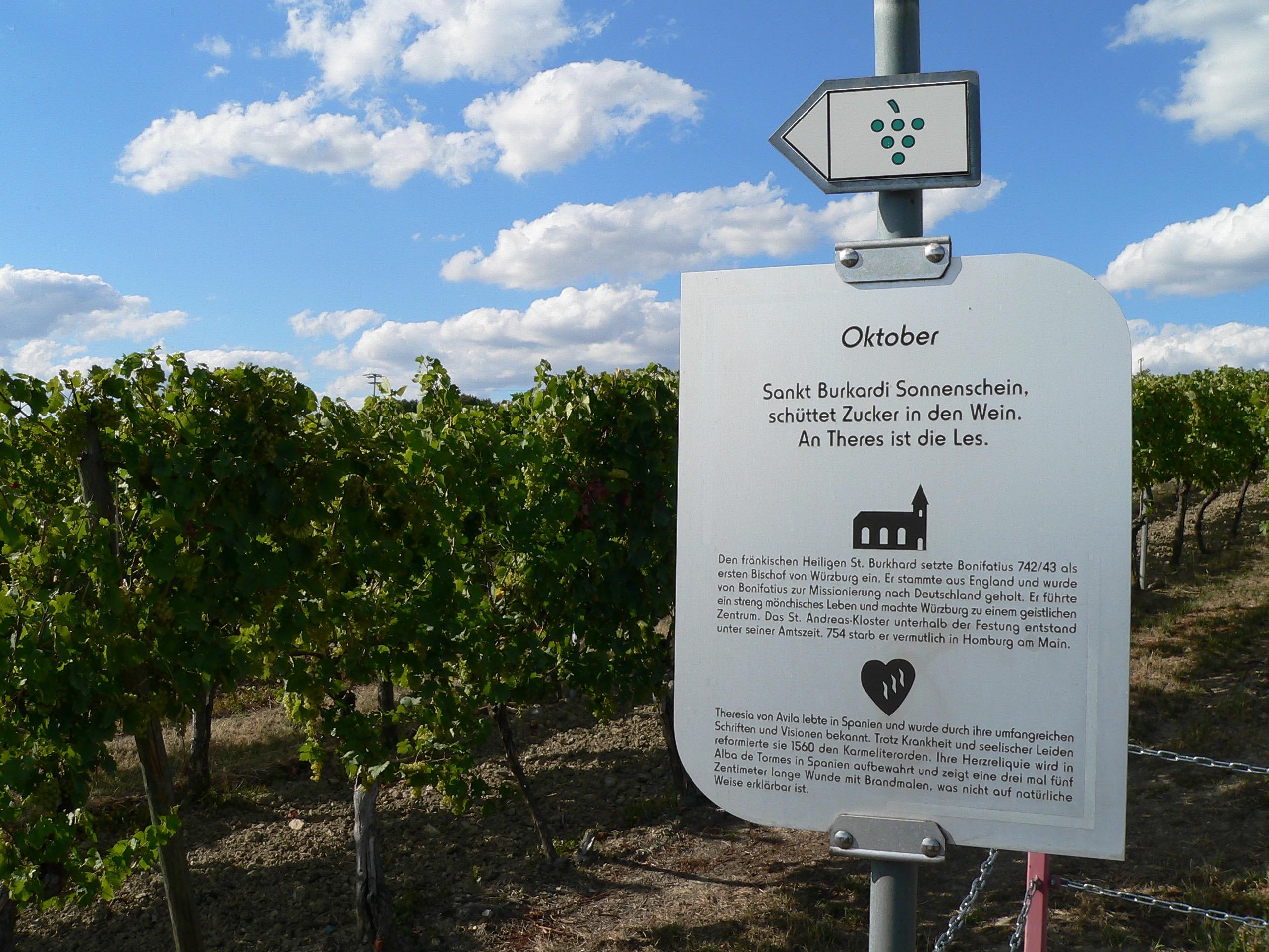 Zwölf Infotafeln weisen auf Bauernregeln im Zusammenhang mit Heiligengedenktagen hin. | Foto: B. Schneider