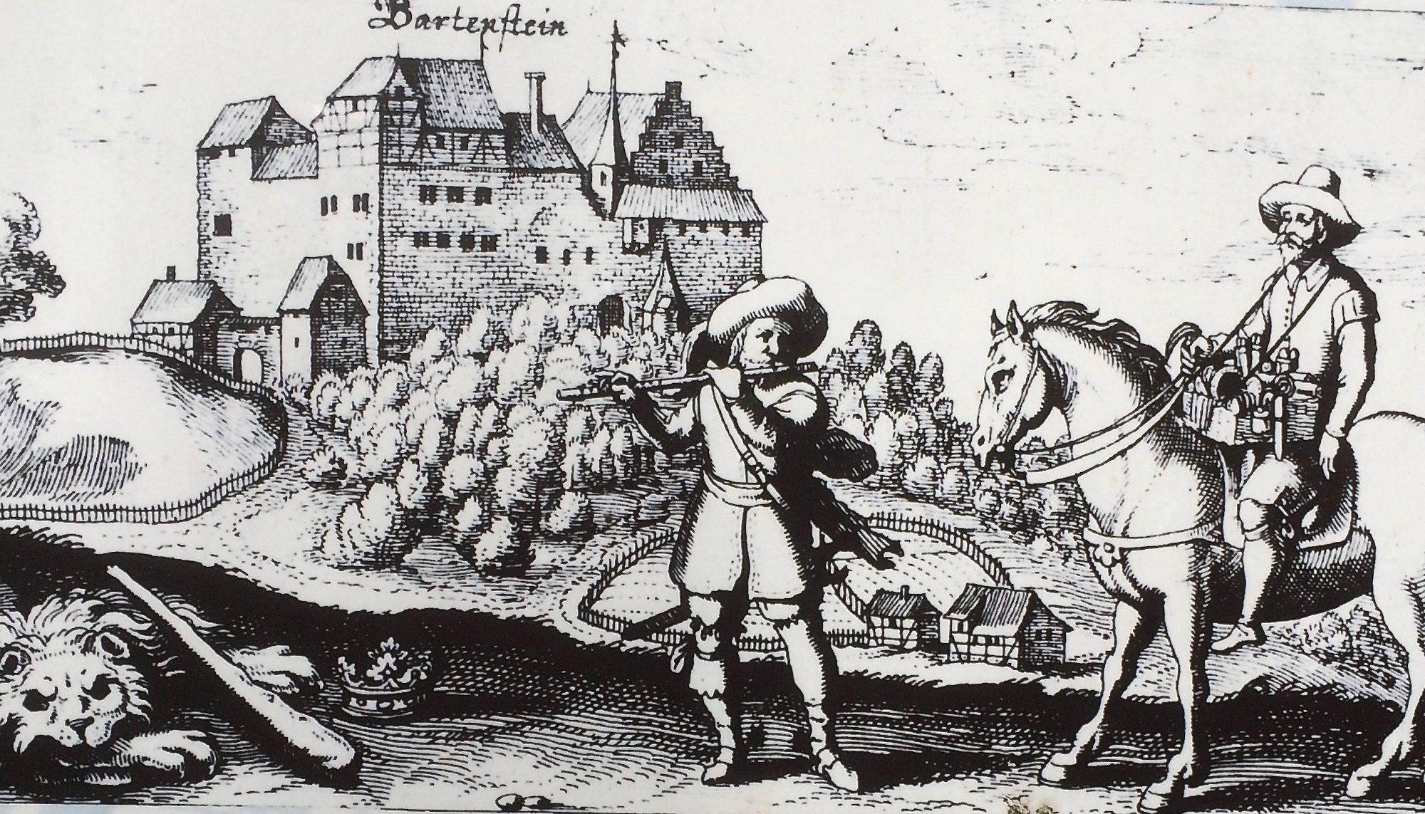 Diesen Kupferstich von der Burg Bartenstein fertigte Johann Eckard Löffler 1623. Rund zehn Jahre später wurde das Bauwerk aufgelassen. | Repro: B. Schneider