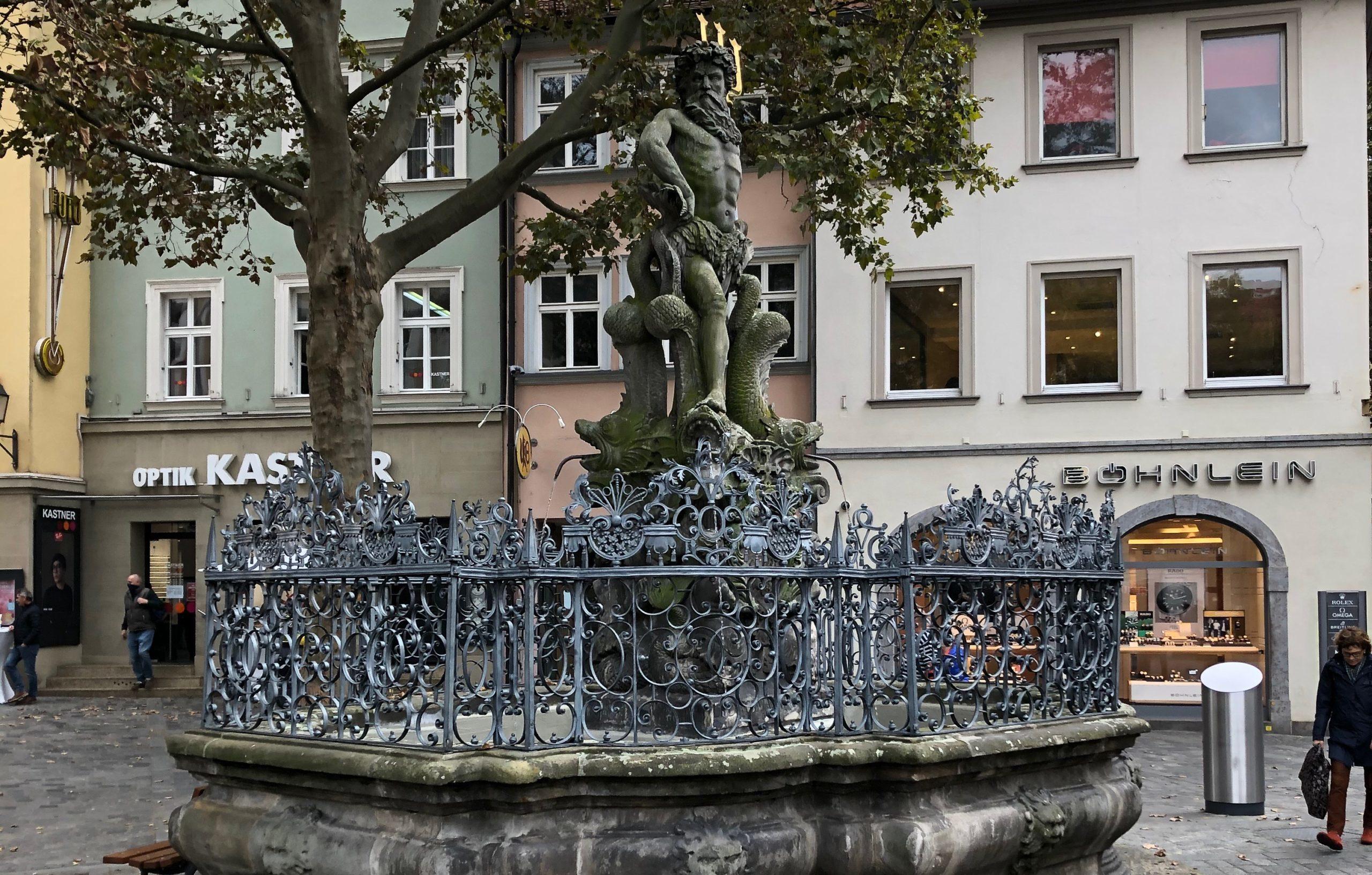Neptun-Brunnen auf dem Grünen Markt in Bamberg. | Foto: B. Schneider