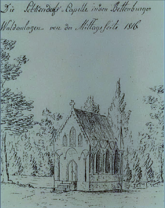 """Auf der Skizze ist zwar """"Seckendorff-Capelle"""" vermerkt, offiziell hieß sie aber Margarethenkapelle. Sie sollte an die """"Urmutter"""" der Bettenburger Truchsesse erinnern - an Margaretha, eine geborene Freiin von Seckendorff, die mit ihrem Mann Dietz Truchseß von Wetzhausen 1420 auf die Bettenburg zog. Die Kapelle gibt es nicht mehr."""