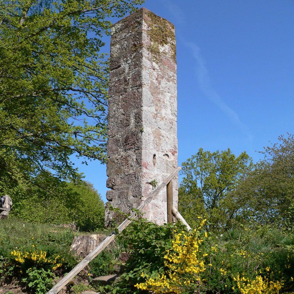 Vor über 400 Jahren errichtet: eine der beiden Sandsteinsäulen des Lohrer Galgens. | Foto: B. Schneider